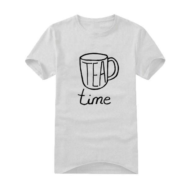 Tea Lovers Men Tshirt Funny Tea Time Print Short Sleeve Tops Men Clothes 2018 Fashion Black White T Shirt Tea Harajuku Saying