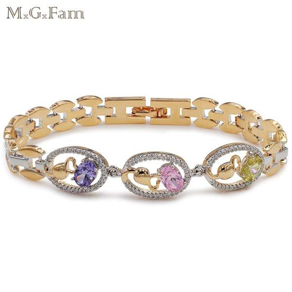 MGFam (223B) (190 * 12 mm) 18 Pulseras de reloj chapadas en oro amarillo Mujeres Precio por mayor de piedra multicolor