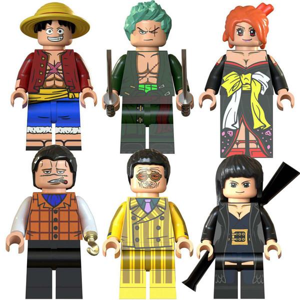 Newest Japan Anime One Piece Luffy Nami Nico Robin Roronoa Zoro Crocodile Toy Figure Building Block