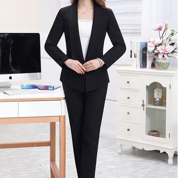 Ladies wear professional business formal work clothes women's long-sleeved suit two-piece suit (coat + pants) black suit