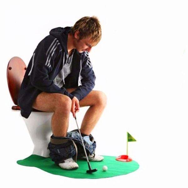 1 Set Bathroom Mats Set Mini Green Golf Rug Kit Toilet Pattern Bath Non-slip Floor Carpet Mattress for Bathroom Decor