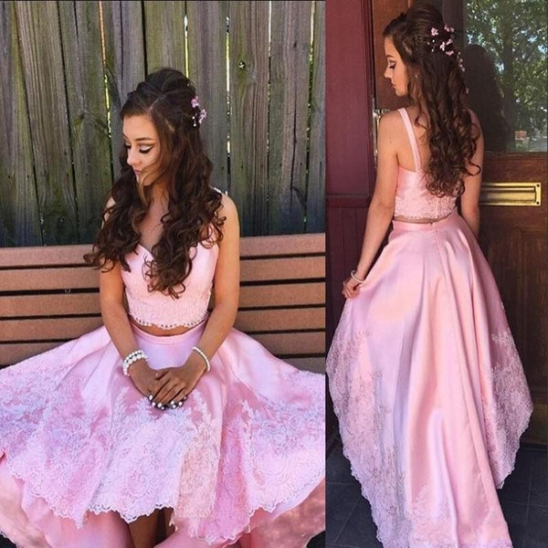 Pink Two Pieces Dresses Evening Wear Sweetheart Lace Appliques High Low Prom Dress Satin Back Zipper Young Girls Homecoming Dress Gowns