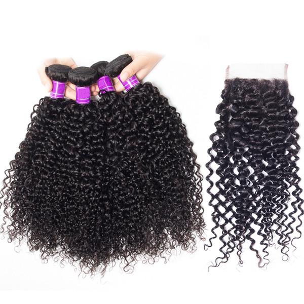 4 Bundles With Lace Closure 5pcs/lot Mink Brazilian Deep Curly Jet Natural Black Color Hair With Closure virgin Deep Curly Hair Bundles