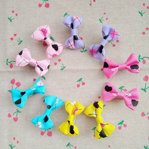 100pcs New Puppy Dog Hair Clips Small Bowknot with Tiny Alligator Clips Pet Grooming Products Mix Colors Varies Patterns Pet Hair Bows