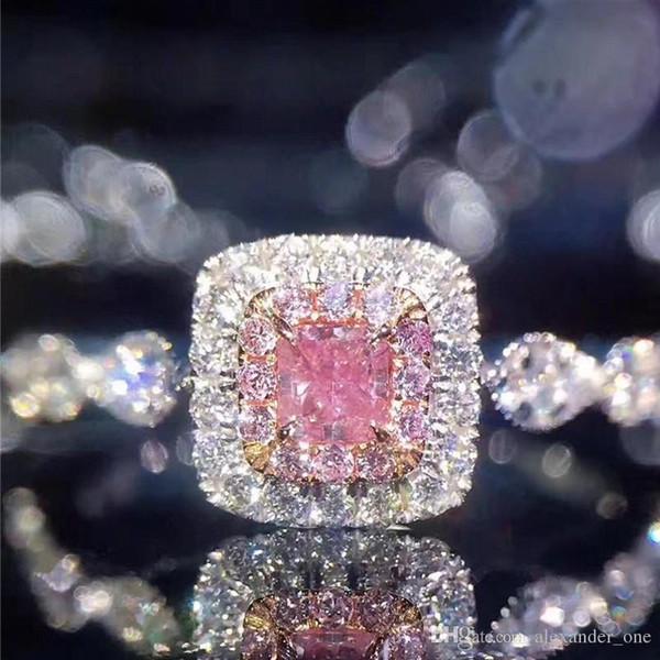 Euramerican Marka Katı Kadınlar için 925 Ayar Gümüş Yüzük Lüks PEMBE Prenses-cut SONA ELMAS YÜZÜK Nişan düğün takı