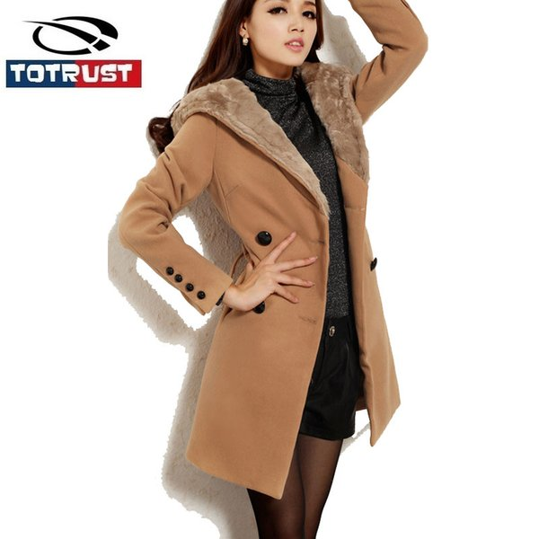 Double Breasted Fur Hooded Winter Trench Coat For Women 2016 Women Long Oversized Cardigans Winter Thickness Poncho Coat Femme