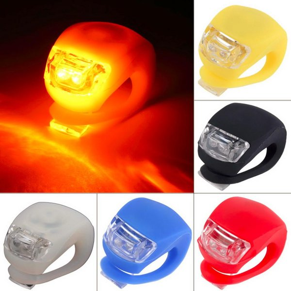 top popular Bicycle Cycling Lamp Silicone Bike Head Front Rear Wheel LED Flash Bicycle Light Lamp 6 Colors Include The Battery 500Pcs 2019