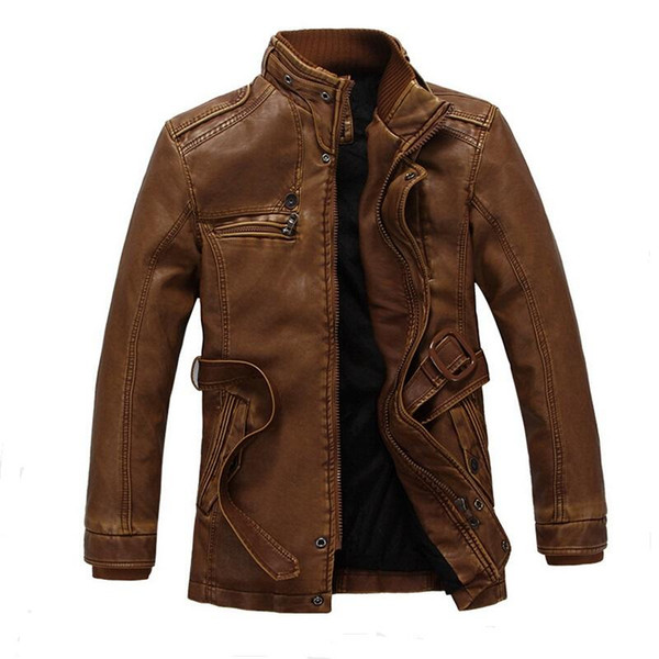 New Male Winter Leather Jacket Fashion Warm Motorcycle Jacket Quality Brand jaqueta de couro masculino Large Size XXL
