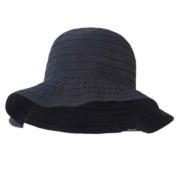 2018 New Summer Bucket Hats Round Dome Black Pink Temperament Ruffle Split Joint Bandage Fisherman Hat Women Fashion Tide