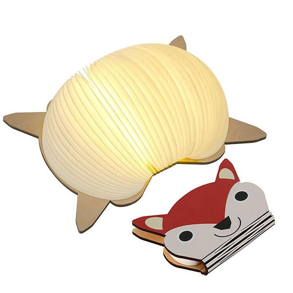 LED USB Rechargeable Table Light Foldable Book Pumpkin Cat Bear Panda Owl Shape Desk Lamp Nightlight Booklight Home Decoration