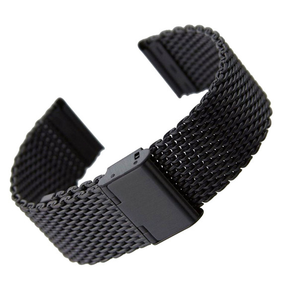 20mm/22mm Solid Milanese Mesh Stainless Steel Strap with Hook Buckle Classic Black Watch Band Straps Cinturino Orologio