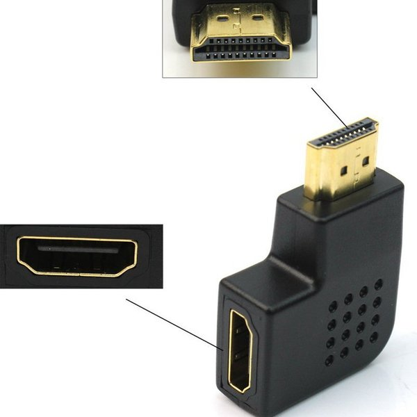 HDMI Port Right Angle Saver M/F Adapter Vertical Flat Left 90 Degree Connector