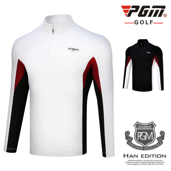 best selling 2018 New PGM Golf Men's Clothing Autumn Winter Long Sleeved Sportswear Windproof Warm Golf T-shirt For Male Size M-XXL