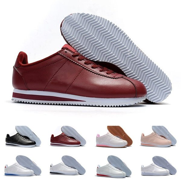 Classic Cortez Basic Leather Casual Shoes Cheap Fashion Men Women Black White Red Golden Skateboarding Sneakers Size 36-44