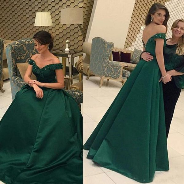 Emerald Green Evening Dresses With Short Sleeves A-line Floor Length Satin Beaded Crystals Off the Shoulder Formal Long Party Prom Dresses
