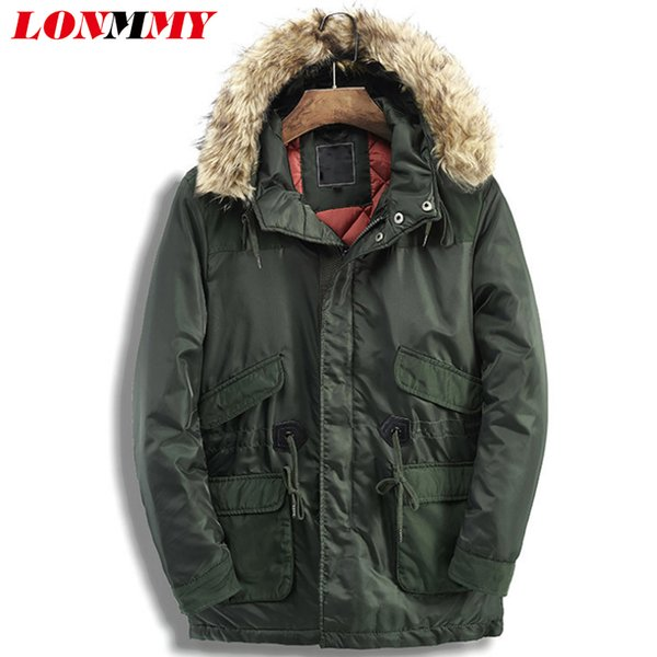 LONMMY Windbreaker jacket winter men parkas Mens winter jackets and coats warm Fake fur collar Hooded Army green Long coat Thick