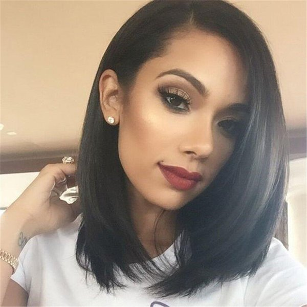 AISI HAIR Short Black Bob Wigs Straight Middle Part Hair For Woman Shoulder  Length Wigs With No Bangs Synthetic Fiber Wig Wigs For Black Women