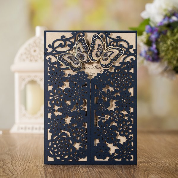 WISHAMDE 50pcs Wedding Invitations Elegant 3D Butterfly Flower Laser Cut Invite Cards for Marriage Anniversary Bride Shower Birthday CW7085B