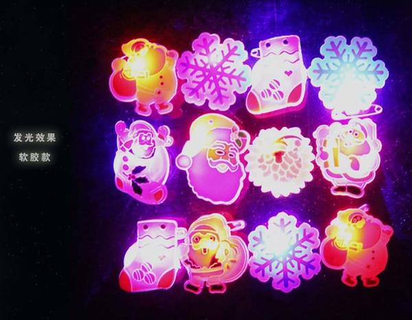 Christmas cartoon LED lamp luminous brooch, children toy badge pin wholesale Christmas supplies