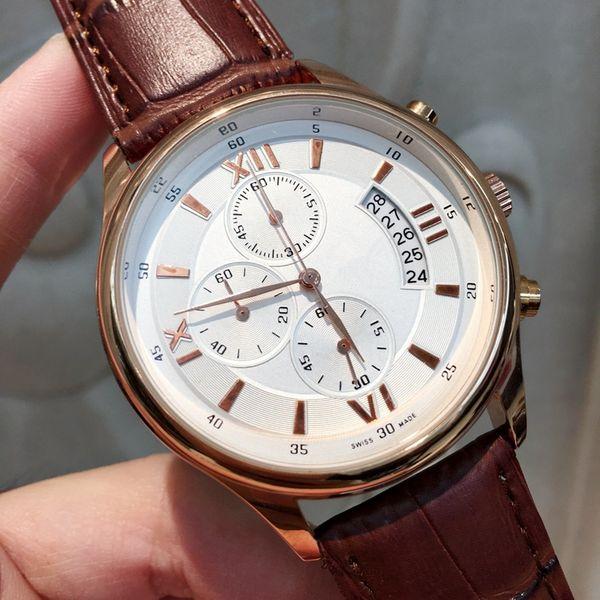 Todos os subdials trabalho venda quente moda casual homem relógio preto relógio de couro marrom masculino relógios de pulso marca feminina relógio japão movimento de quartzo