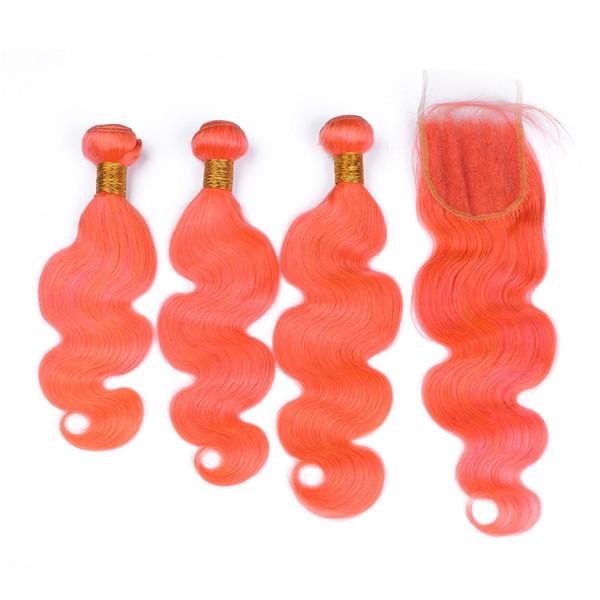 Pacotes alaranjados do cabelo da onda do corpo com o cabelo brasileiro do fechamento do laço com os pacotes do cabelo humano do fechamento Remy