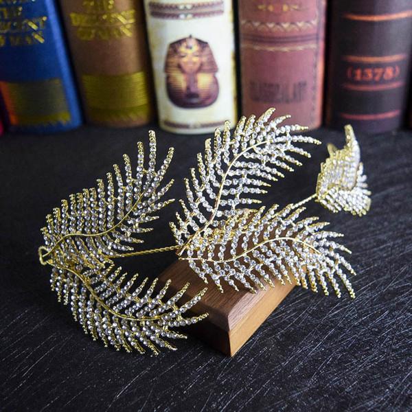 Korean new style leaves crystal wedding dresses bridal headgear hair ornaments wedding accessories.