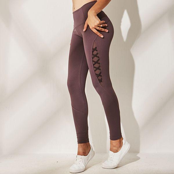 Autumn New Side Lattice Mesh Yoga Pants Women High Waist Booty Scrunch Leggings Sport Fitness Leggins Slim Fit Gym Tights Women
