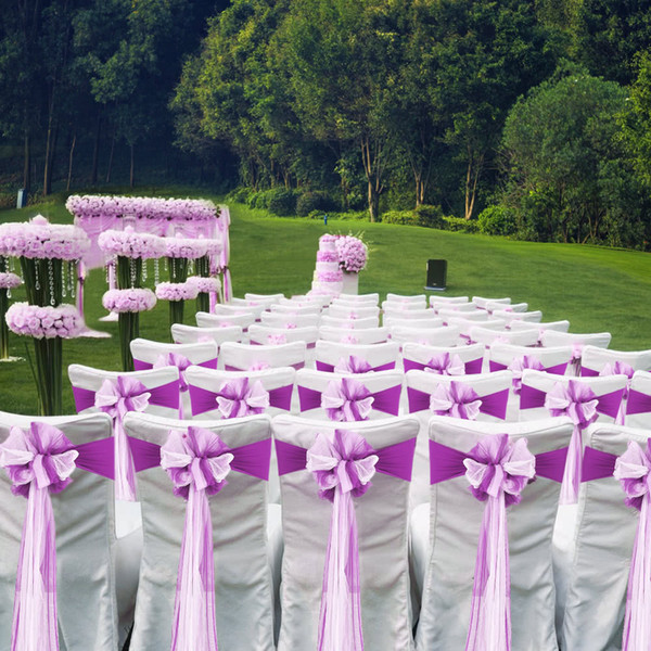 Spandex Stretch Chair Cover Sashes Bows Tie Elastic Chair Bands Bow Tie With Buckle Slider Sashes Bows 10pcs/lot Wedding Banquet Party Decor