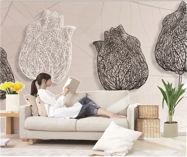Custom Retail Abstract Hand-Painted Black And White Rose Leaves TV Background Wall Decoration Mural