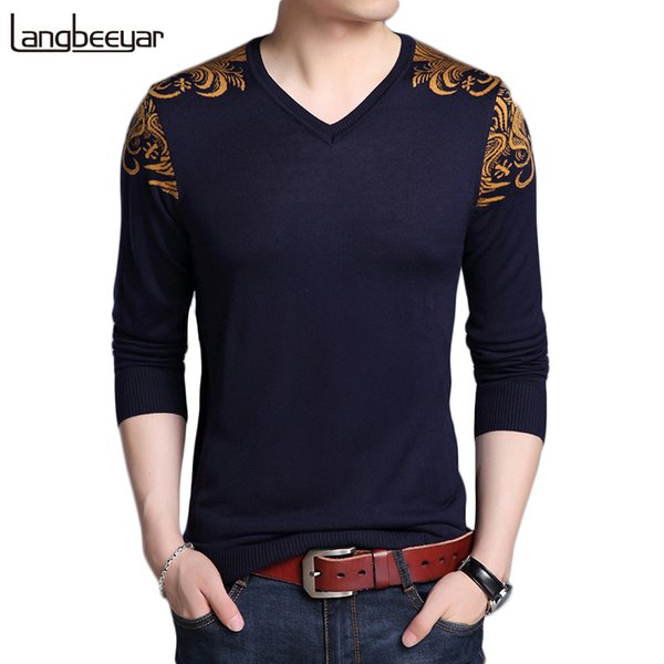 2018 New Autumn Winter Brand Clothing Sweater Men Fashion V Neck Sweate Slim Fit Winter Pullover Men Graphic Knitted Sweater