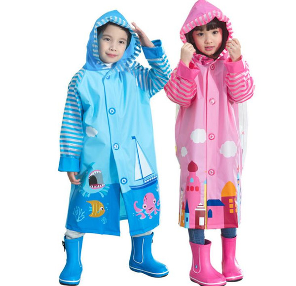 50pcs Children Raincoat 2016 New Cartoon Cape-style Girl Boy Children Kids Students Bicycle Poncho Rain Coat Waterproof Rainwear SN1443