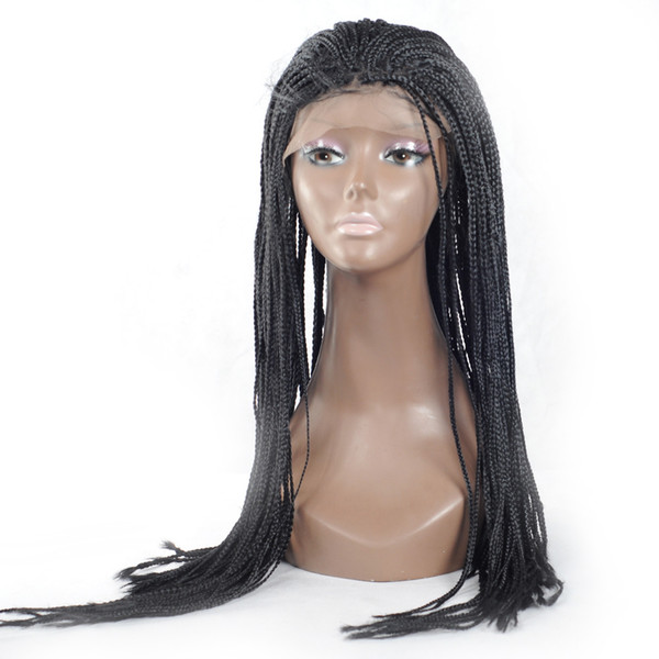Micro Braided Lace Front Wigs Thick Full Hand Twist High Density Braided Lace Front Wigs Box Synthetic Fiber Hair For Women