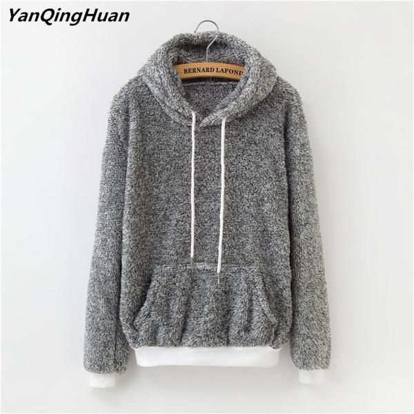 Winter Warm Cashmere Sportswear Hooded Big Pocket Harajuku Sweatshirt Flannel Pullover Loose Casual Women Hooded Sweatshirt Top