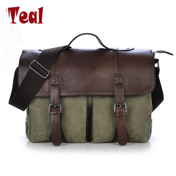2018 новый кожаный холст мужской портфель свободного покроя винтаж мужская сумка через плечо деловая сумка для женщин мужчина унисекс