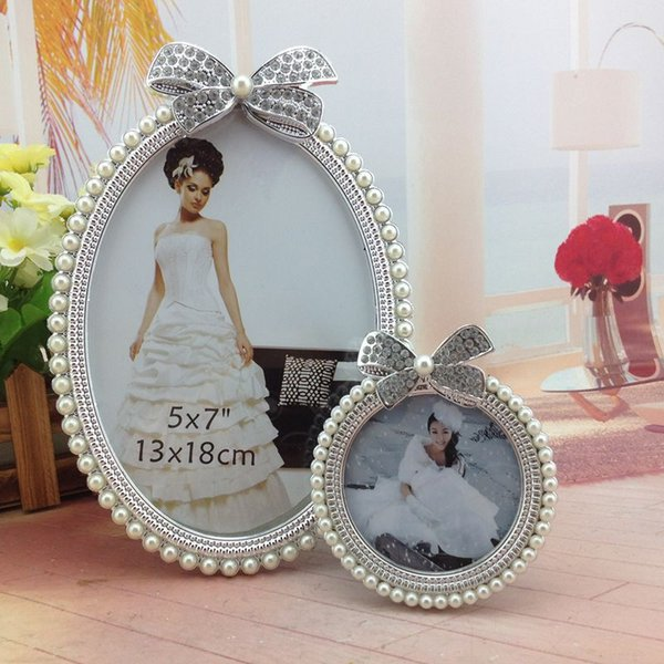200pcs 3inch Pearl Resin Photo Frame Diamond Pearl Decoration Girl Picture Holder Baby Shower Birthday Gift Home Room Ornament lin4188