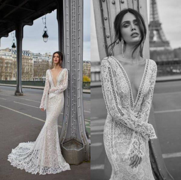 mermaid julie vino wedding dresses lace appliques long sleeve illusion bodice vestidos de novia deep v sheer neck robe de mariee