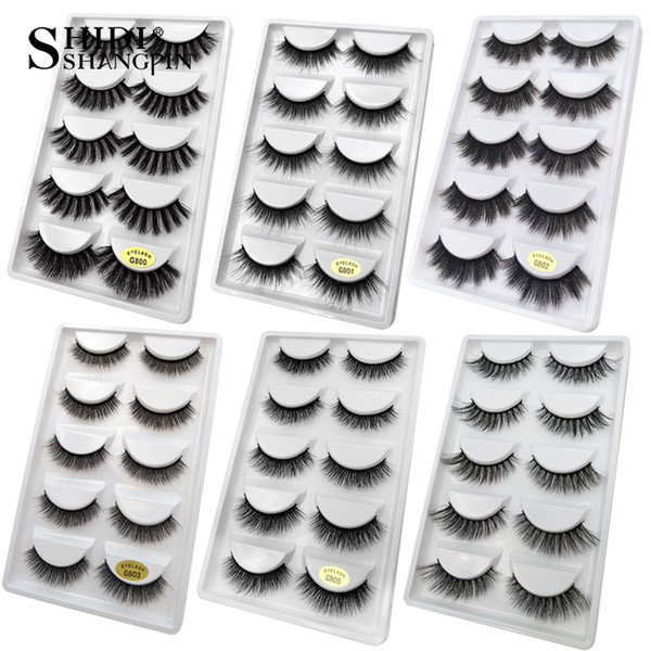 3D Mink Lashes Crisscross False Eyelashes 5 pairs Handmade Nature Long Thick Messy Tapered Makeup Fake Eye Lashes Extensions