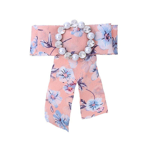 Women Flamingo Broken Flower Fabric Bow Tie Imitation Pearl Crystal Brooch Diamond Insert Pure Color Ties