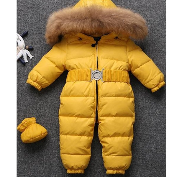 High Quality Russia Winter Baby Snowsuits kids Jumpsuit hold -25 18M-4T Boy Girls Warm natural fur Down Jacket Kids Clothes Infantil Rompers