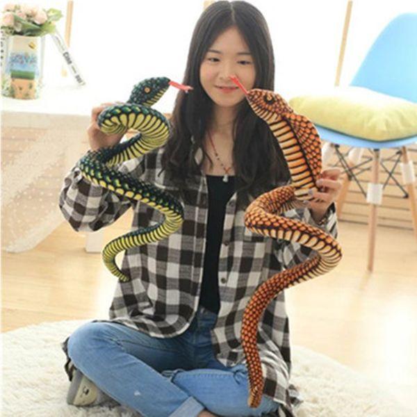MIAOOWA 1PC 130/280CM Big Size Snake Plush Doll Simulation Snake Animal Stuffed Toy Funny Doll Party Toy Kid Baby Birthday Gift