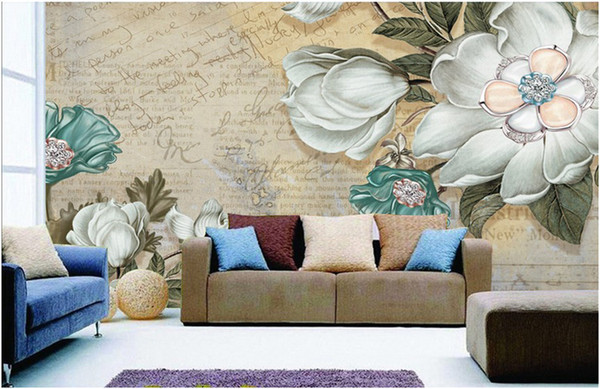 European Style Retro Oil Painting Flower Wallpapers Living Room Bedroom TV Background Wallpaper Large Hand-painted Abstract Art Mural