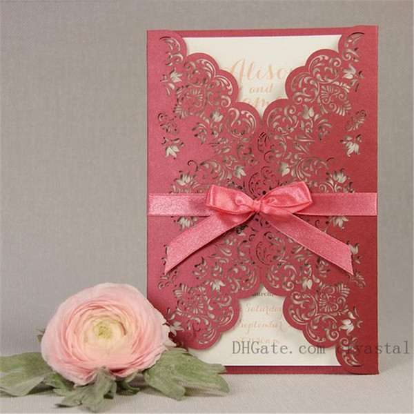 Intricate Lace Laser Cut Day Gatefold Wedding Invitation Handmade Personalized Invites With Envelopes, 20+ Colors Available
