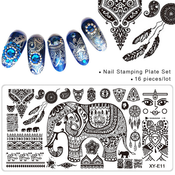 Wholesale-16pcs Summer Nail Stamping Plates Set Flowers Cartoon Lace Patterns Polish Template DIY Image Print Manicure Tools SAXYE01-16