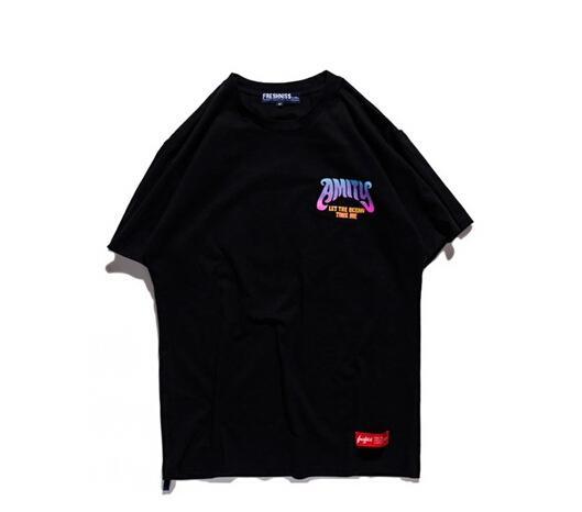 New Summer High Street Cartoon Skull Pattern Tide Brand Men's T-shirt Black And Blue Short Sleeve Tee