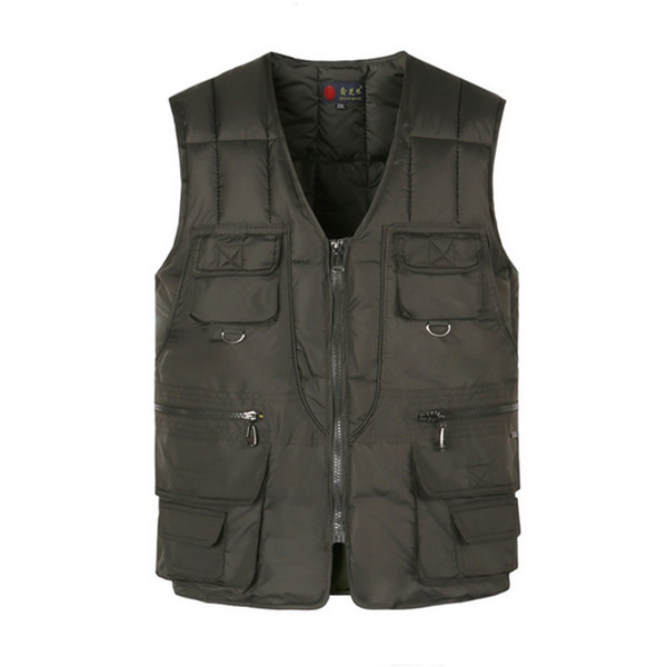 Multi Pocket Cotton Vest For Men Winter Padded Casual Thick Warm Photographer Sleeveless Outerwear Jacket With Many Pockets Male
