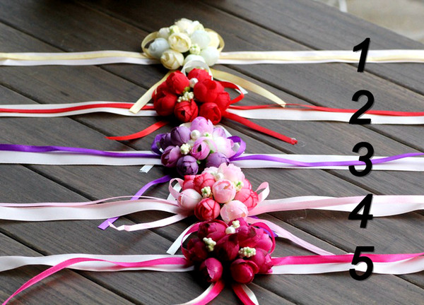 20Pcs Wedding Favor Wrist Flower Rose Silk Ribbon Bride Corsage Hand Decorative Wristband Bridesmaid Curtain Band Clip Bouquet