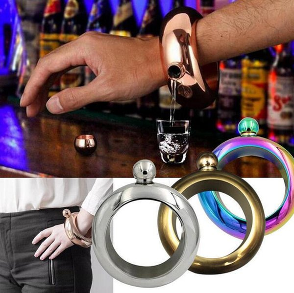 304 Stainless Steel Bracelet Flagon With Box Multi Colors 3.5OZ Metal Wine Pot Round Hip Flasks Drinkware Bangle Bracelets