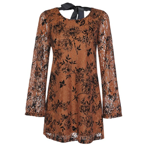 Gamiss Trendy Round Collar Long Sleeve Lace Floral Print Tied Strap Women Dress Tied Strap Women Vestidos M-XXXXL