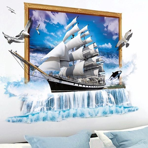 3D Vivid Sea Sail Boat Wall Sticker Self-adhesive Wallpaper Ocean Creative Sailing Wall Window Stickers Home Decor Art