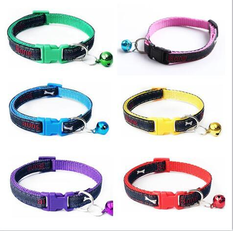 Nylon Dog Puppy Cat Collar Breakaway Adjustable Cats Collars with charm Bell and cowboy bone Dog collar width 1.0cm